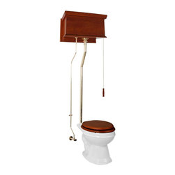 Renovators Supply - High Tank Toilets Mahogany Flat Tank Elongated High Tank Toilet - High Tank Toilets L-pipe: Our stylish high elongated toilet will lend your lavatory the charm & ambiance of the Victorian age. We've updated the materials and components with 21st century technology. All tanks are a water-saving 1.6 gallons per flush. Ready to install with all mounting parts, tank, liner, pipes and bowl