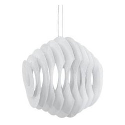 "LexMod - Fish Aluminum Pendant Light in White - Fish Aluminum Pendant Light in White - Swim through your room with an unbounded sense of creativity. The Fish modern light pendant helps you take to the skies and dive into the ocean with a fluid piece that connotes waves of progress no matter what the altitude. Made of painted aluminum strips, Fish adjusts from a height of 20-59 from your ceiling. Set Includes: One - Fish Aluminum Pendant Light Modern Pendant Light, Painted Aluminum Light, Height adjustable from 20-59 inches, 1 60 watt bulb (E26) (not included) Overall Product Dimensions: 16.5""L x 15.5""W x 17.5""H Cord Length: 59""L - Mid Century Modern Furniture."