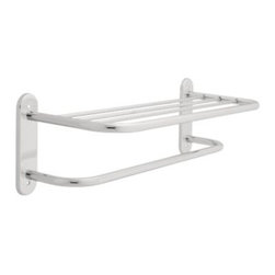 Liberty Hardware - Liberty Hardware 2782PC F.B. DESIGNER TOWEL SHELVES 8.5 Inch Towel Holder - This towel shelf is made of durable steel material and is finished in polished chrome to coordinate with other bathroom fixtures. The 24 in. design accommodates plush towels and is ideal for hotel bathrooms. The one towel bar on this shelf adds extra storage space for additional towels of assorted sizes. Center to Center - 24 Inch, Width - 8.5 Inch, Height - 26.14 Inch, Projection - 9.88 Inch, Finish - Polished Chrome, Weight - 4.52 Lbs.