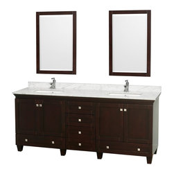 "Wyndham Collection - Wyndham Collection 80"" Acclaim Espresso Double Vanity w/ White Porcelain Sink - Sublimely linking traditional and modern design aesthetics, and part of the exclusive Wyndham Collection Designer Series by Christopher Grubb, the Acclaim Vanity is at home in almost every bathroom decor. This solid oak vanity blends the simple lines of traditional design with modern elements like square undermount sinks and brushed chrome hardware, resulting in a timeless piece of bathroom furniture. The Acclaim comes with a White Carrera or Ivory marble counter, porcelain, marble or granite sinks, and matching mirrors. Featuring soft close door hinges and drawer glides, you'll never hear a noisy door again! Meticulously finished with brushed chrome hardware, the attention to detail on this beautiful vanity is second to none and is sure to be envy of your friends and neighbors!"
