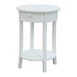 Olivia Bedside Lamp Table, White - Complete your look with this accent table that is ideal as a side table or nightstand. The Olivia Accent table is elegant enough for formal areas but works equally well in an office, great room or guest room. Display plants or photos on the open shelf and tuck stray notes in the attractively curved drawer. Buy these round end tables in pairs to flank your sofa or individually to dress up that empty corner. Great price!