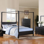 "Acme - 5 PC London Canopy Collection Black Finish Wood Queen Canopy 4 Poster Bed Set - 5-Piece London Canopy collection black finish wood queen canopy 4 poster bed set with squared post ends and feet and paneled ends. This set includes the queen bed set, one nightstand, dresser, mirror and chest. Queen canopy 4 poster bed set with squared post ends and feet and paneled ends. Nightstand measures 26"" x 17"" x 22"" H. Dresser measures 62"" x 18"" x 38"" H. Mirror measures 40"" x 41"" H. Chest measures 38"" x 18"" x 51"" H. Some assembly may be required. TV console also available separately and at additional cost and measures 52"" x 18"" x 24"" H. Cal king and Eastern king available at additional cost."