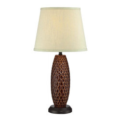 Joshua Marshal - Ceramic Table Lamp, Two-Tone/L.Grn Fabric Shade, E27 Cfl 13W - Finish: Brown