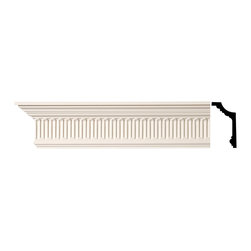Renovators Supply - Cornice White Urethane Mount Pleasant - Cornice - Ornate | 11381 - Cornices: Made of virtually indestructible high-density urethane our cornice is cast from steel molds guaranteeing the highest quality on the market. High-precision steel molds provide a higher quality pattern consistency, design clarity and overall strength and durability. Lightweight they are easily installed with no special skills. Unlike plaster or wood urethane is resistant to cracking, warping or peeling.  Factory-primed our cornice is ready for finishing.  Measures 5 inch H x 94 inch L.