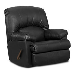 Chelsea Home - Rocker Recliner Chair in Black - Seating comfort: Medium. Kiln dried and crafted of hardwood and cross banded plywood. Precisely assembled with block and staples. Seat cushion is attached. Seat back cushion is attached. Seat cushion is not reversible. No sag steel springs that are tied with insulated border wire for uniform seating. Padded with a polyester pad over the springs. Made from 12% processed leather, 88% polypropylene and kiln dried hardwood. Made in USA. No assembly required. 40 in. W x 39 in. D x 42 in. H (100 lbs.)