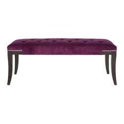 Safavieh - Gibbons Bench - Plum - Luxurious at the foot of a bed or topped with a tray for use as a living room table, the Gibbons Bench is a contemporary designer classic. Plum cotton velour is contrasted with espresso-colored birch wood legs, and accented with elegant tufting and silver nailhead trim.