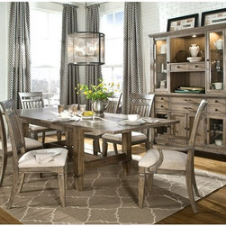 Legacy Classic Furniture - Legacy Brownstone Village 5 Piece Trestle Dining Table Set with Slat Back Chairs - Shop for Dining Sets from Hayneedle.com! Country elements updated for contemporary dining rooms define the classic style of the Legacy Brownstone Village 5 Piece Trestle Dining Table Set with Slat Back Chairs including a plank-style tabletop and vertical slat chair backs. Rubberwood solid frames and oak veneers provide exceptional strength and durability ensuring many years of pleasurable dining with this charming set s aged patina finish and comfortable cream-colored upholstery.About Legacy Classic FurnitureCommitted to offering the best of today's youth-bedroom styles for the young and young at heart Legacy Classic Furniture offers a wide selection of best selling designs and finishes with a large variety of beds and storage and study options. Dedicated to providing outstanding quality at reasonable prices Legacy Classic Furniture employs quality materials proven construction techniques and the highest safety standards to manufacture exceptional products that are built to last a lifetime.Note about drawer features:All Legacy products use Kenlin's Rite-Trak drawer guide system. Exceptionally quiet and smooth this system features positive stops and close tolerances for better drawer fit. Kenlin drawer guides are made with precision steel guides and runners permanent lubrication and specially engineered plastic components for years of reliable performance.