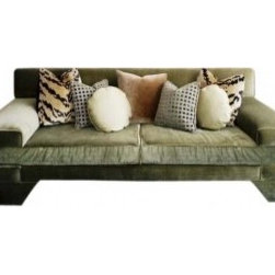 Eco First Art 3 - A modern take on a classic greek key motif upholstered in green strie velvet.