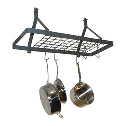 Enclume - Rack It Up Rectangle Ceiling Pot Rack w Grid - Hanging. Made from hammered steel. Powder coat color. Optional trim cover: 4 in. Dia. x 1 in. H. Optional low ceiling arms: 14 in. W x 1.25 in. W x 6 in. H (3 lbs.). Minimum: 24 in. L x 14 in. W x 16 in. H. Maximum: 34 in. L x 14 in. W x 20 in. H. Two trim covers and low ceiling arms are optional. Includes twelve pot hooks, hardware and steel anchors. Light weight: 9 lbs.. Grid multiplies the storage capacity and versatility of the rack. Keeps kitchen clean and clutter-free. Stores pots and utensils overhead for easy access. Frees up counter top and cabinet space. Decorative style. Makes cooking more convenient and fun. Optional low ceiling arms with installation bolts and hex wrench. Raises the rack so hanging pots don't block view through kitchen. Warranty: Five years limited. Assembly InstructionsEspecially designed for homes with smaller kitchens, also condos, town homes and apartments.