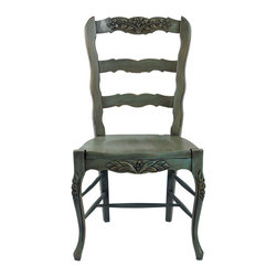 Fable Porch Furniture - French Country Side Chair - Our French Country Side chair is made from beech wood and is hand carved. Finished in Deep Sky-Classic with Spring distressing.