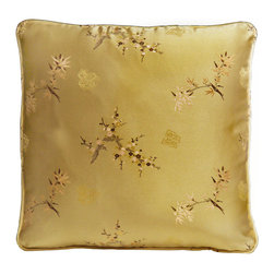 China Furniture and Arts - Silk Pillow - Cherry Blossom & Bamboo, Gold - Cherry blossom is elegantly brocaded on the luxurious golden silk. Mix or arrange decoratively on a sofa, bed, or chaise. Zipper cover removes for dry cleaning.