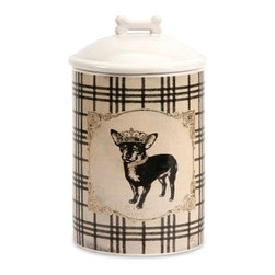 Dog Ceramic Canister Small - *Store all the essentials for your canine friend in this beautiful small ceramic container with royal graphics.