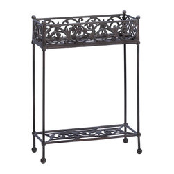 Koolekoo - Cast Iron Two-Tier Plant Stand - Display your favorite potted plants in this gorgeously detailed cast iron stand. The rectangular container features lovely flourishes, and below is an additional display shelf.