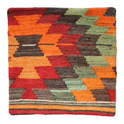 Turkish Original Hand Woven Kilim - Gemetric Sunburst Antique Kilim Pillow Cover - Hand Woven from an Antique Turkish Kilim Carpet, this pillow cover has a Wool front and cotton back with Zipper entry.  Please note:  pillow insert not included.