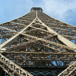 Murals Your Way - Eiffel Tower (Stock Photos) Wall Art - The iron lattice structure of the Eiffel Tower has been photographed in detail in this wall mural