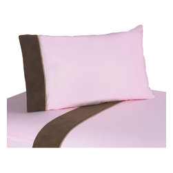 Sweet Jojo Designs - Sweet JoJo Designs Soho Pink Bedding Collection Sheet Set - These sheets use solid pink 100-percent cotton fabric with chocolate microsuede trim and camel piping. Made to coordinate with the matching Sweet JoJo bedding set, this sheet set is machine washable for easy care.