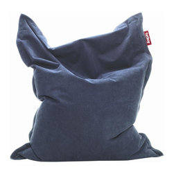 Fatboy - Bean Bag in Dark Blue - Filled with virgin polystyrene beads. Soft and durable fabric outer. Cover is machine washable at 86° F. Made from 100% stonewashed cotton. 55 in. L x 8 in. W x 70 in. H (15 lbs.)Fun and multi-functional lounge bean bag from Fatboy for reading, watching TV, cuddling and relaxing. Your couch might start to feel a little neglected.