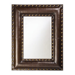 Howard Elliott - Palermo Mirror in Faux Padded Black Leather - Frame Size: 35 in. x 45 in.