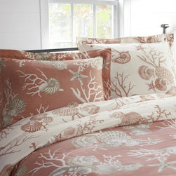 Bermuda Coastal Reversible Organic Duvet Cover - Coastal toile — I love it! A simple bedroom needs little additional decor with a gorgeous duvet like this. Why not let the linens do all the talking?