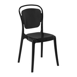 Classic Black Dining Chair - Gather round the table with friends and family, with help from this Classic Black Dining Chair. Made with durable polycarbonate plastic, the chair features a simple, minimalist shape that complements any décor.