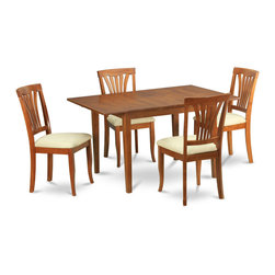 """East West Furniture - 5Pc Set Picasso Dining Table and 4 Avon Padded Seat Chairs - 5Pc Set Picasso Table with 12 in Butterfly Leaf and 4 Avon Padded Seat Chairs; These Picasso kitchen sets are beautifully crafted and rich with a warm saddle brown color.; This sleek, yet traditional dinette set contains no plastic, which makes it efficient and environmentally friendly.; The Picasso table & chairs each have a glossy finish, complete with subtle, perfectly beveled edges.; These dinette sets make a cozy addition to any kitchen or conventional dining room and provide seating for up to six people.; Choose between wood and microfiber upholstered seats depending on which table & chairs set fits your ktichen or dining room style.; Weight: 139 lbs; Dimensions: Table: 48 - 60""""L x 32""""W x 30""""H; Chair: 18""""L x 17""""W x 38.5""""H"""