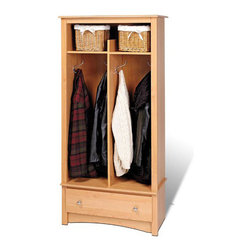 Prepac - Prepac Sonoma Maple Entryway Hall Tree Organizer - Prepac - Hall Trees - MEL3369K - The Sonoma Entryway Organizer is the perfect solution in any foyer bedroom or mudroom where that is a need for storage. It features stylish decorative touches llike a profiled top an arched apron and brushed metal hardware.Features: