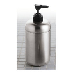 Gedy - Satin Stainless Steel Soap Dispenser - Freestanding soap dispenser for the bathroom counter. Contemporary design liquid soap dispenser. Round lotion dispenser made out of stainless steel with a satin finish. From Gedy's Margot Collection. Made in Italy. Contemporary style. Round freestanding s