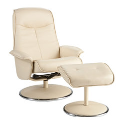 Naomi Bonded Leather Recliner & Ottoman, French Vanilla