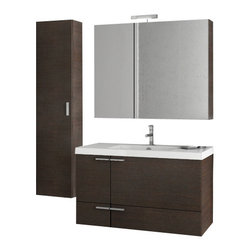 ACF - 39 Inch Wenge Bathroom Vanity Set - This complete vanity set comes with a two door one drawer vanity cabinet, ceramic sink, medicine cabinet, and tall storage cabinet.