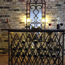 Wine Bar - Wine bar and mirror with wine bottle sconce lights