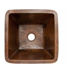 "Premier-Copper-Products - 15"" Square Copper Bar/Prep Sink W/ 2 Drain - BS15DB2 Premier Copper Products 15 Inch Square Hammered Copper Bar/Prep Sink W/ 2 Inch Drain Size"