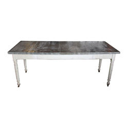 SOLD OUT! Industrial Farm Table with Zinc Top - $4,400 Est. Retail - $2,160 on C