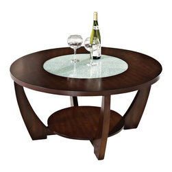 Steve Silver Company - Steve Silver Company Rafael Cocktail Table in Cherry with Cracked Glass Insert - Steve Silver Company - Coffee Tables - RF300C - Unique and elegant this round cocktail table is richly stained wood and veneer with lower display shelf.  Top features a cracked glass insert. Built for aesthetics strength and mobility.