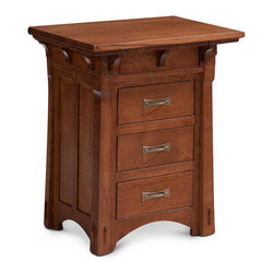 MaRyan Nightstand w/ Drawers - Shown in solid quareter sawn oak with Michael's finish. Other options available, custom made in your choice of 8 American hardwoods in 18 different finishes. Price varies with wood selection.