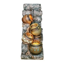 ORE International - 43 in. Indoor and Outdoor Fountain w Potter P - Includes 4 Halogen lights. Water cascades down . With rope and faucet accent. Lights creates an illuminating effect. Made from polyresin. Multicolor with textured finish. 30 Days warranty. 18 in. L x 17 in. W x 43 in. H (45 lbs.)Take a moment and sooth your senses with this beautiful and durable outdoor fountain. Listen to the water cascading over the display for a little bit of peace and tranquility.