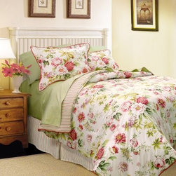 Scent-Sation Danielle Comforter Set - Get your own cozy garden escape with the Scent-Sation Danielle Comforter Set. This set includes a soft 100% cotton comforter with extra-plush poly fill, as well as a coordinating bedskirt and shams. Comfortable and beautiful, this fresh set is adorned with a fun classic floral pattern featuring shades of rosy pink, spring green, and cream. The comforter reverses to a coordinating striped pattern so you can switch up your look from time to time. Perfect for anyone looking to refresh their bedroom with something eye-catching and vibrant.About Scent-Sation, Inc.Founded in 1950, Scent-Sation has continually remained focused on manufacturing the finest bedding, sheets, and hangers available. The company took its name from the very first product they manufactured: scented hangers. From there, the company moved on to bedding and sheets, though it didn't leave the aromatic satin hangers behind. Whether you're looking for traditional or contemporary bedding, Scent-Sation has a high-quality option for you, crafted with care and attention to detail.