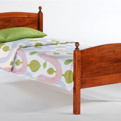 Night & Day Furniture - Licorice Twin Bed in Cherry - Bed includes head/foot, rails, slats. 100% Malaysian Rubberwood construction. Warranty: 5 years. Cherry finish. 57 in. W x 80.6 in. D x 40.9 in. H (39.7 lbs.)Licorice! Yummy, chewy and so so good. It's sometimes sweet, sometimes salty, sometimes red, but mostly black. Licorice's delightful variations keep it forever a favorite. So naturally, for our timeless Licorice Bed such a tasty confection brings on all its sweet associations.Take care of your kids' needs for beds, bunks and storage with our Zest Bedroom Collection for Night and Day. Smart quality at extraordinary value. We have gone to great lengths to design and engineer this complete line to keep your cost down and your pleasure up.