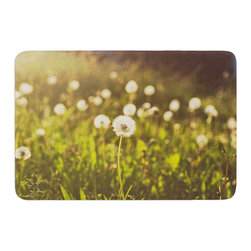"KESS InHouse - Libertad Leal ""As You Wish"" Dandelions Memory Foam Bath Mat (24"" x 36"") - These super absorbent bath mats will add comfort and style to your bathroom. These memory foam mats will feel like you are in a spa every time you step out of the shower. Available in two sizes, 17"" x 24"" and 24"" x 36"", with a .5"" thickness and non skid backing, these will fit every style of bathroom. Add comfort like never before in front of your vanity, sink, bathtub, shower or even laundry room. Machine wash cold, gentle cycle, tumble dry low or lay flat to dry. Printed on single side."