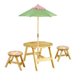 Teamson Design Magic Garden Outdoor Table and 2 Chairs Set - The Teamson Design Outdoor Table and 2 Chairs Set - Magic Garden Collection does it all. The set lets your daughter have a pleasant tea party or play a fun card game in comfort. The round table and chairs include hand-painted flowers and butterflies on the surface. Plus, the set includes a waterproof umbrella in pleasant pink and green colors, and the unique finish on the sturdy MDF wood allows the table and chairs to be used outdoors. Dimensions: 27L x 27W x 19H inches.About Teamson DesignBased in Edgewoood, N.Y., Teamson Design Corporation is a wholesale gift and furniture company that specializes in handmade and hand painted kid-themed furniture collections and occasional home accents. In business since 1997, Teamson continues to inspire homes with creative and colorful furniture.