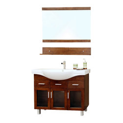 Bellaterra Home - 39.8 in Single sink vanity-wood-walnut - Add a unique contemporary flare to your home's decor with this modern style design sink chest vanity. The medium walnut finish is refreshing and will surely add to your home's ambiance. Three door panels with soft close hinges, two functional drawers with ball bearing drawer glides provide all storage necessity for any bathroom without compromising.