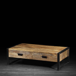 Artemano - Delia Coffee Table Made of Mango Wood - Fit to last a lifetime, the Delia Coffee Table made of resilient mango wood has a timeless appeal that will never go out of style.  Framed with black industrial metal legs, the exotic wood grain and its rich blend of colors steal the show in any living room. An extra perk to this coffee table are the two large drawers that provide plenty of hidden storage space!