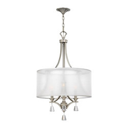 Fredrick Ramond - Fredrick Ramond Mime Transitional Drum Chandelier X-INB60654RF - Brighten a seating or dining area with modern style with this striking chandelier design. The brushed nickel finished frame creates a dramatic shape. Three fixtures glow brightly behind a sheer white fabric drum shade. The Fredrick Ramond Mime Transitional chandelier provides a stunning look that's sure to enhance your decor.