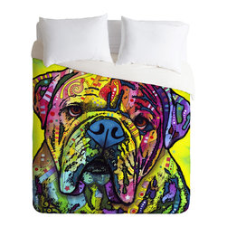 DENY Designs - Dean Russo Hey Bulldog Duvet Cover - Turn your basic, boring down comforter into the super stylish focal point of your bedroom. Our Luxe Duvet is made from a heavy-weight luxurious woven polyester with a 50% cotton/50% polyester cream bottom. It also includes a hidden zipper with interior corner ties to secure your comforter. it's comfy, fade-resistant, and custom printed for each and every customer.