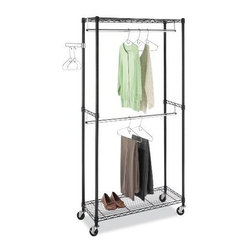 "Whitmor - Supreme DoubleRod Garment Rack - Whitmor Supreme Double Rod Garment Rack - Dimensions: 16.25"" x 38"" x 76"" - Heavy duty black epoxy coated steel unit with two hanging bars and adjustable swinging arm.  Heavy duty wheels included  two locking.  This item cannot be shipped to APO/FPO addresses. Please accept our apologies."