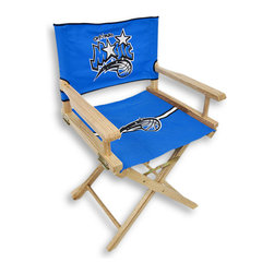 Guidecraft - Orlando Magic Junior Director`s Chair - Little Magic fans will go wild for this officially licensed Orlando Magic junior director`s chair. This fun director`s chair displays the official logos and colors of the Orlando Magic on both the seat and seat back! Hand crafted and hand painted, this ultimate fan, quality furniture is sure to become an instant favorite sitting spot! The Magic junior director`s chair features a canvas back and seat, a solid birch frame and a clear coat finish. The seat back is secured with hook and loop tape, yet easily lifts off, and the hinged arms fold down allowing the seat to slide out for ease of cleaning. The rear crossbar has a safety latch that locks and must be pushed in to fold the chair, ensuring your child`s safety! This chair measures 30 inches high, 18 7/8 inches wide, 15 3/4 inches deep with a seat height of 17 1/4 inches. This chair will be a slam dunk for your little fans!!