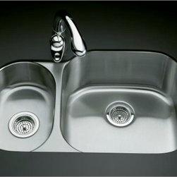 "KOHLER - KOHLER K-3355-L-NA Undertone High/Low Undercounter Kitchen Sink - KOHLER K-3355-L-NA Undertone High/Low Undercounter Kitchen Sink with Left Basin Depth of 5-1/2"" and Right Basin Depth of 9-1/2"""