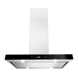 """AKDY - AKDY AK-Z627I-PS3 Euro Stainless Steel Island Mount Range Hood, 36"""" - This 36-inch ventilation hood can be mounted over an island or peninsula. The bold stainless steel hood can be installed over many 36- and 30-inch ranges and cooktops including some commercial-style cooking surfaces. Four LED lights provide exceptional visibility above the cooktop surface. 3-speed hidden Fan control Creates an uninterrupted design with hidden controls that make it easy to select fan speed and operate lights. Convertible to recirculating vent system allows you to install your ventilation systems in kitchens without direct venting to the outside and features a charcoal filter to keep air fresh. Dishwasher safe Mesh filters helps keep the kitchen fresh when drawing steam grease and odors through the hood."""