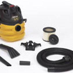 "SHOP VAC CORP - 587-24-62 5.5HP 5G PORT VAC - HEAVY-DUTY PORTABLE VAC  5 gallon, 5.5 peak HP  Easy to carry, compact & portable  Top carry handle - easy lifting  7' x 1.5"" lock on hose  20' cord length  Claw utility nozzle, crevice tool & tool holder  Cartridge filter & disposable filter bag  Accessory storage & cord wrap    587-24-62 5.5HP 5G PORT VAC"