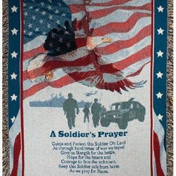 Manual - A Soldiers Prayer Patriotic American Tapestry Throw Blanket 50 Inch x 50 Inch - This multicolored woven tapestry throw blanket is a wonderful addition to the home of any service-person or veteran. Made of cotton, the blanket measures 50 inches wide, 60 inches long, and has approximately 1 1/2 inches of fringe around the border. The blanket features an American Flag border, with a majestic eagle, soldier silhouettes and 'A Soldier's Prayer' printed near the bottom. Care instructions are to machine wash in cold water on a delicate cycle, tumble dry on low heat, wash with dark colors separately, and do not bleach. This comfy blanket makes a great housewarming gift that is sure to be loved.