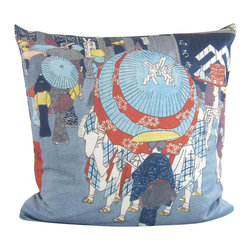 Poetic Pillow - Hiroshige Nihonbashi Pillow - Transform any space with a pillow from Poetic Pillow. Each pillow is inspired by fine works of art and printed on the front and back.   Covers are made of pre-shrunk satin-like polyester fabric. All seams are finished to prevent fraying and pillow covers have a knife edge finish.. A concealed zipper allows for ease of inputting pillow inserts.  A duck feather insert is included for soft yet supportive feel.  Cushion inserts are encased in a cotton cover and filled with 100% duck feather.  All research, design and packaging is completed in Oakland, California.